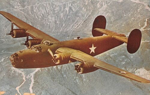 LIBERATOR BOMBER~B-24~ONE OF FASTEST HEAVY BOMBERS IN WORLD MILITARY POSTCARD