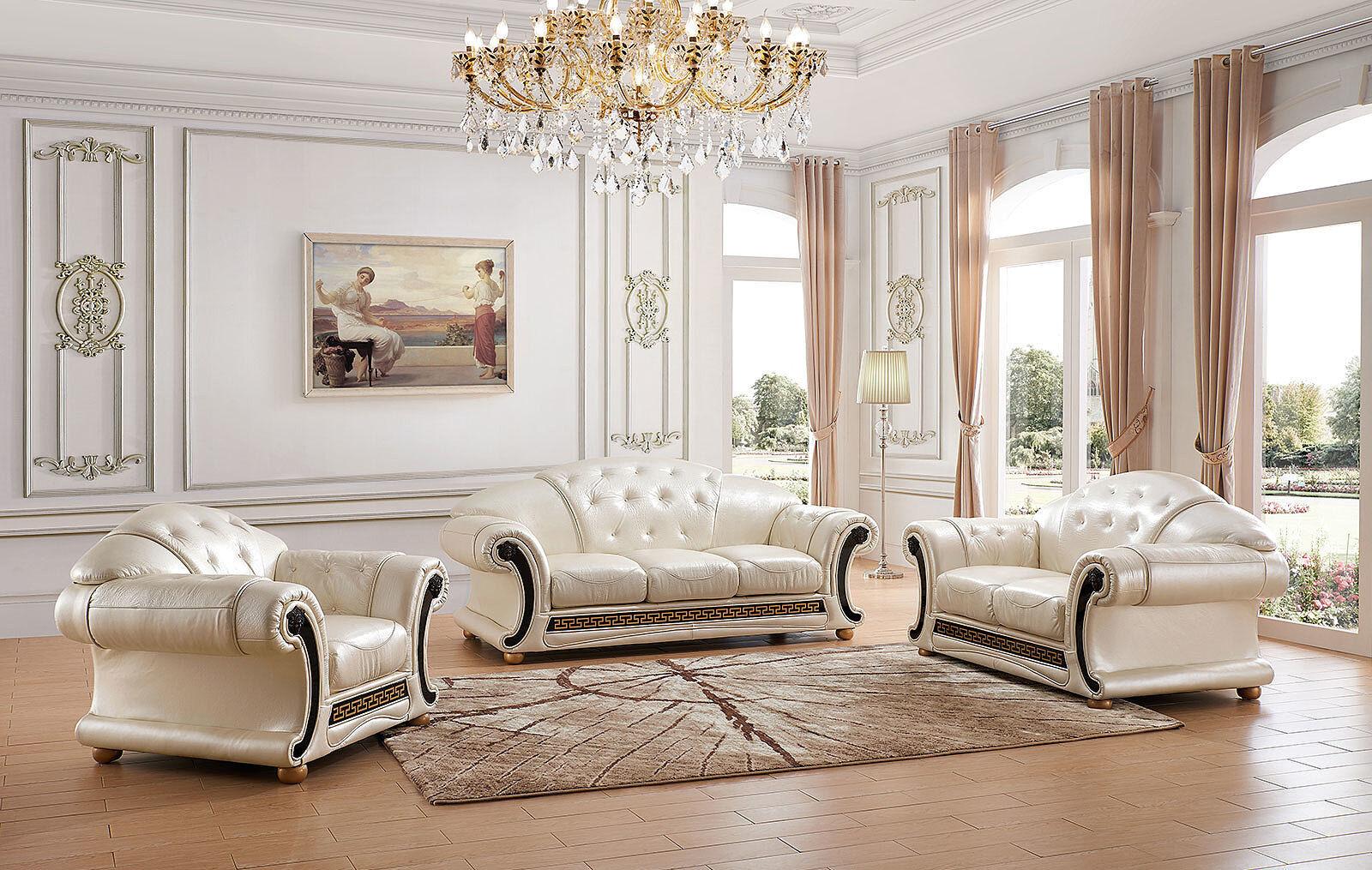 ESF Furniture Apolo Sofa Loveseat Chair Pearl Italian Leather Living Room, 3 Pcs