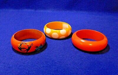 3 Wood / Wooden Bangle Bracelets - Butterfly & Flower, Yellow Polka Dot, Orange 3 Polka Dot Bracelets