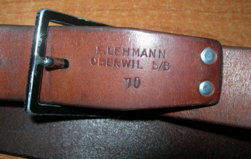 Vintage Swiss Army soldier leather belt 1970