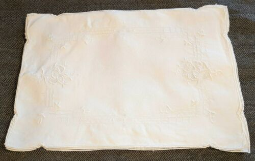 8 Linen Placemats - Embroidered, Vintage, Lace