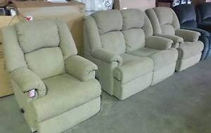 2 SEATER LOUNGE  PLUS 2 SINGLE RECLINERS IN BEIGE FABRIC Thebarton West Torrens Area Preview