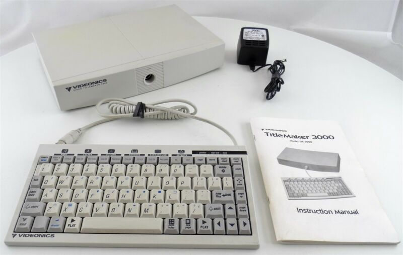 Videonics Model TM-3000 TitleMaker 3000 with Keyboard and Power Supply Used