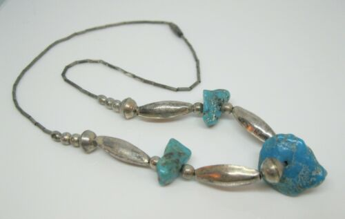 """Native American Turquoise Nugget Sterling Silver Beaded Necklace Choker 16 1/4"""""""