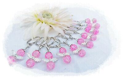 10 Rosa Glitzer Schutzengel, Gastgeschenk, Taufe, Danke Schlüsselanhänger Perleneng