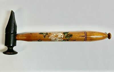 Rare Antique Hand Painted Wooden Hammer Shaped Needle Case, 24cm Long