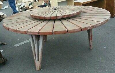 VINTAGE California REDWOOD Rustic Patio Dining Table Lazy Susan  Industrial MCM California Rustic Dining Table