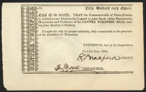 1821 Centre Turnpike Road Stock Certificate
