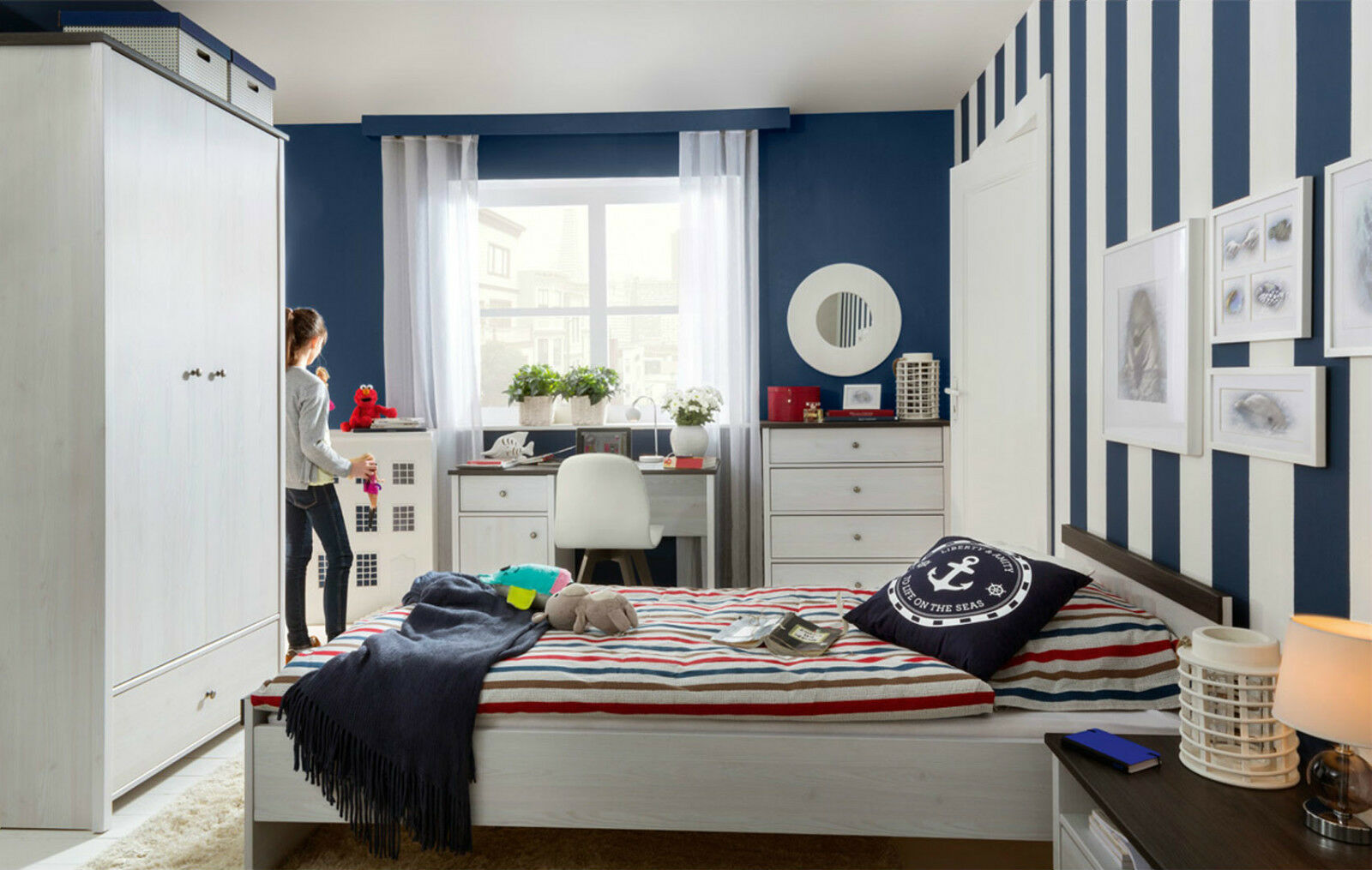 Details About Children S Bedroom Furniture Set 3 Items White Washed Nautical Coastal Shabby Pr