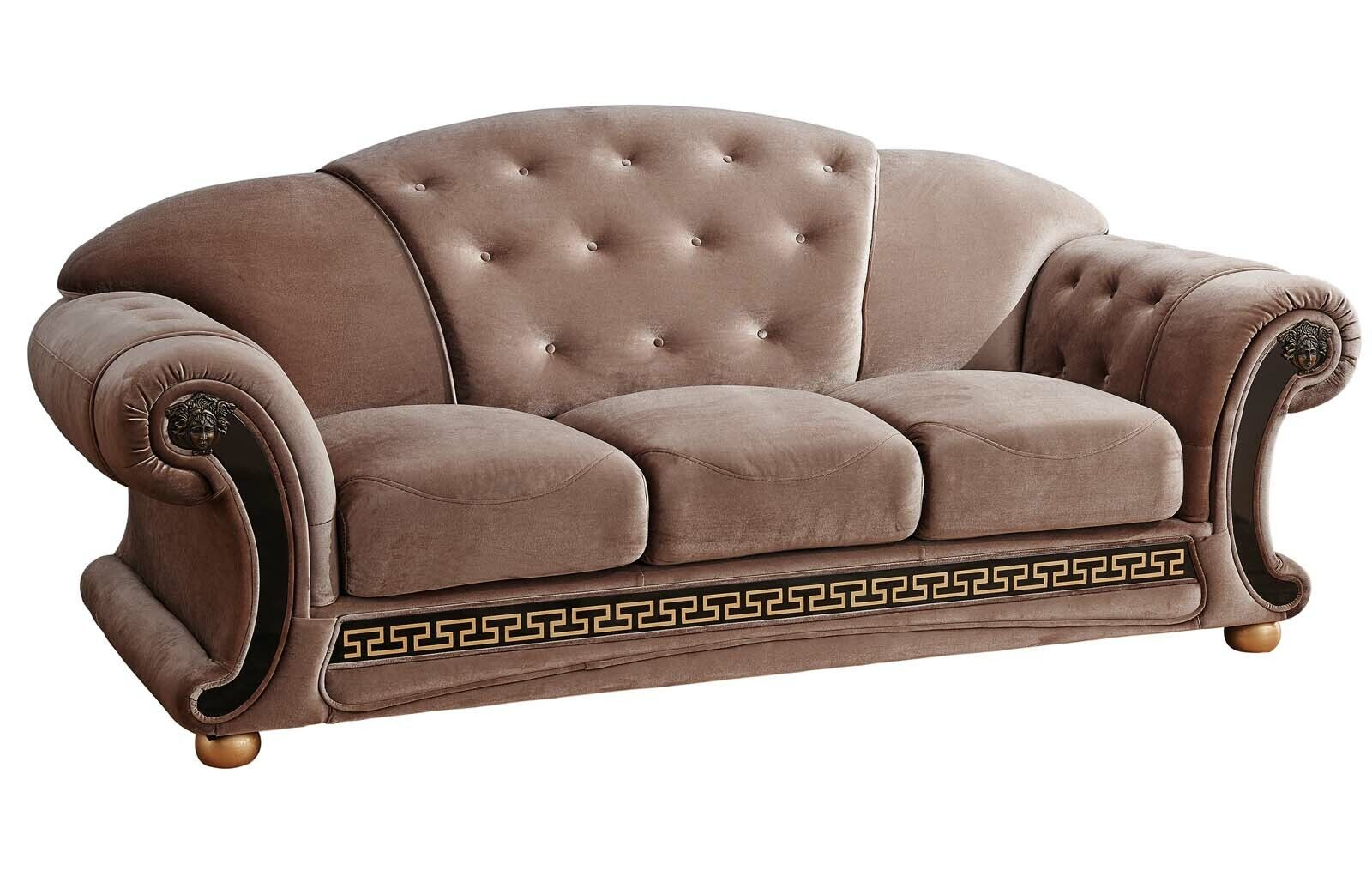 Details about Button Tufted Light Brown Fabric Sofa Black & Gold Accents  Living Room Couch