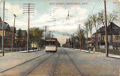 Michigan Trolley (Menominee Michigan~Trolley on Main Street~Neighborhood Homes~Lady on Corner~1909)