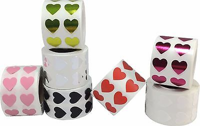 Heart Stickers, 1/2 Inch Wide Labels, 1000 Labels on a Roll, 18 Color - Roll Stickers