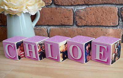 Wooden Photo Blocks (Hand Made Wooden Personalised Baby Child Photo Block Present Christening)