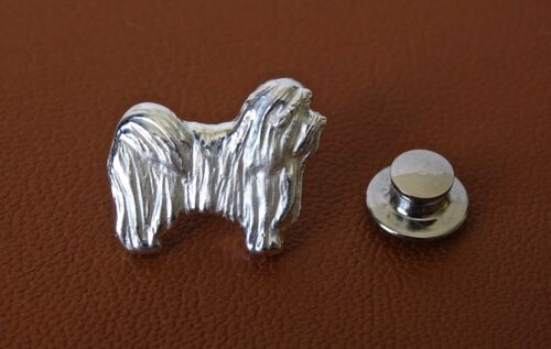 Small Sterling Silver Havanese Standing Study Lapel Pin