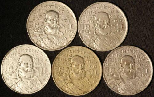 1932 (5) Brazil 2000 Reis .50 Silver - Free Shipping USA