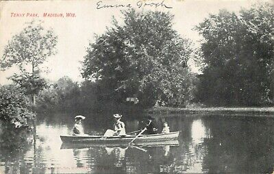 MADISON WI-ROW BOATING IN TENNEY TENNY PARK POSTCARD-1914 POSTMARK FOOTVILLE