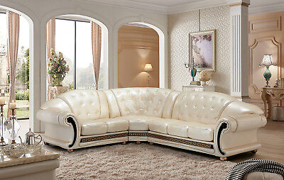 ESF Furniture Apolo Sectional Sofa Living Room in Pearl Italian Leather