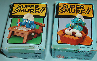 #11 LOT of TWO Vintage SUPER SMURF ROWBOAT and SCHOOL DESK SMURFS