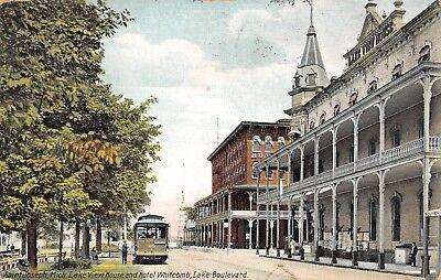 Michigan Trolley (St Joseph Michigan~Trolley Stop at Lake View House~Hotel Whitcomb~Souvenirs~1911)
