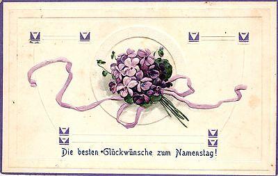 Namenstag, Blumenstrauss, Prägekarte, 1908 in Mengen / Württemberg versandt