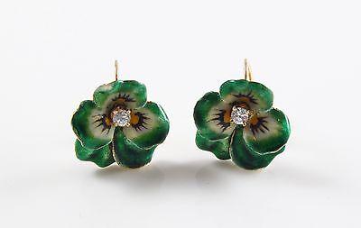 Ladies Art Nouveau 14K Gold Enamel & Diamond Green Pansy Screw Back Earrings