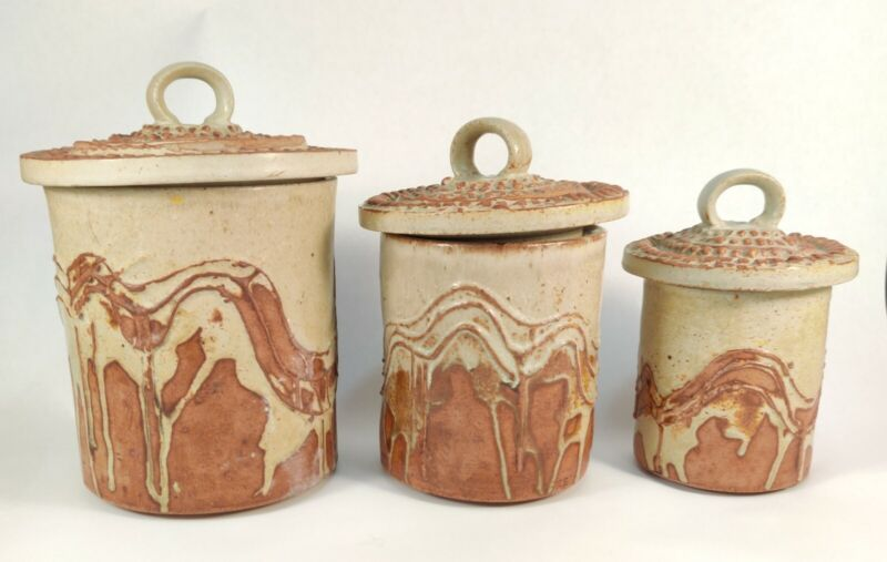 Rooke Ceramic Canister Set Bernard Rooke Pottery Studio Mid Century Brutalist