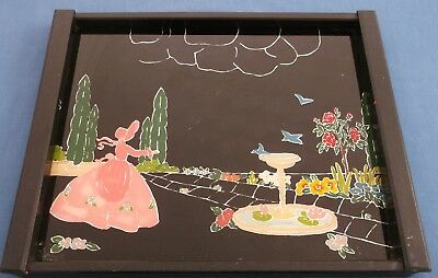 VINTAGE CRINOLINE LADY FLOWER GARDEN FOIL GLAZED ENGLISH TEA TIME SERVING TRAY