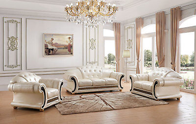 Apolo Living Room Set Top Grain Pearl Color Leather - Sofa, Loveseat, Chair