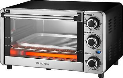 Insignia- 4-Slice Toaster Oven - Stainless Screw up one's courage to the sticking point