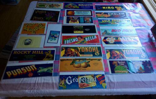 vintage VEGETABLE FRUIT other advertising LABELS lot of 25 - 24 different/1 dup