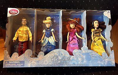 "Disney Store Mini Doll Set Cinderella Prince Charming Anastasia Drizella 5½"" NIB"