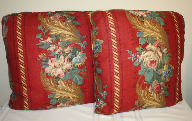 Decorative Designer Red Multi-Color Floral Upholstery Fabric Square Pillows Pr.