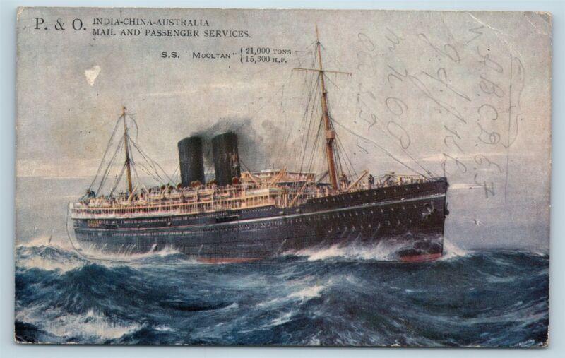 Postcard P&O Line Steamship SS Mooltan Steamer Ship c1933 V7