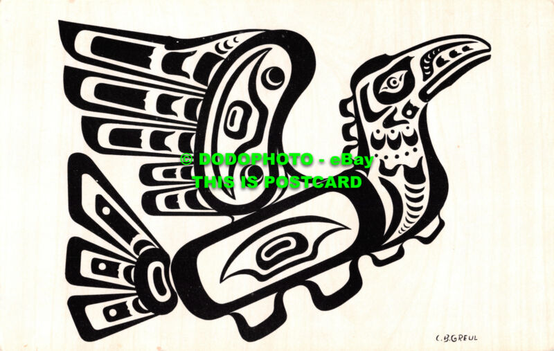 R529274+C.+B.+Greul.+Pacific+Northwest+Coast+Indian+Motif.+Hoho.+Thunderbird.+C.