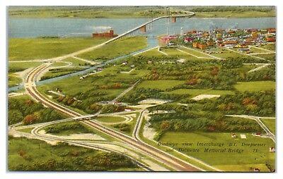 Mid-1900s Bird's-Eye Interchange #1 Deepwater, Delaware Memorial Bridge Postcard