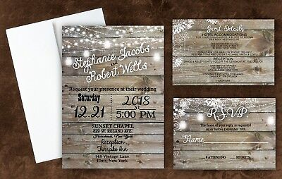 Country Invites Custom Personalized Wedding Invitations Rustic Qty 100 Invites](Personalize Invitations)