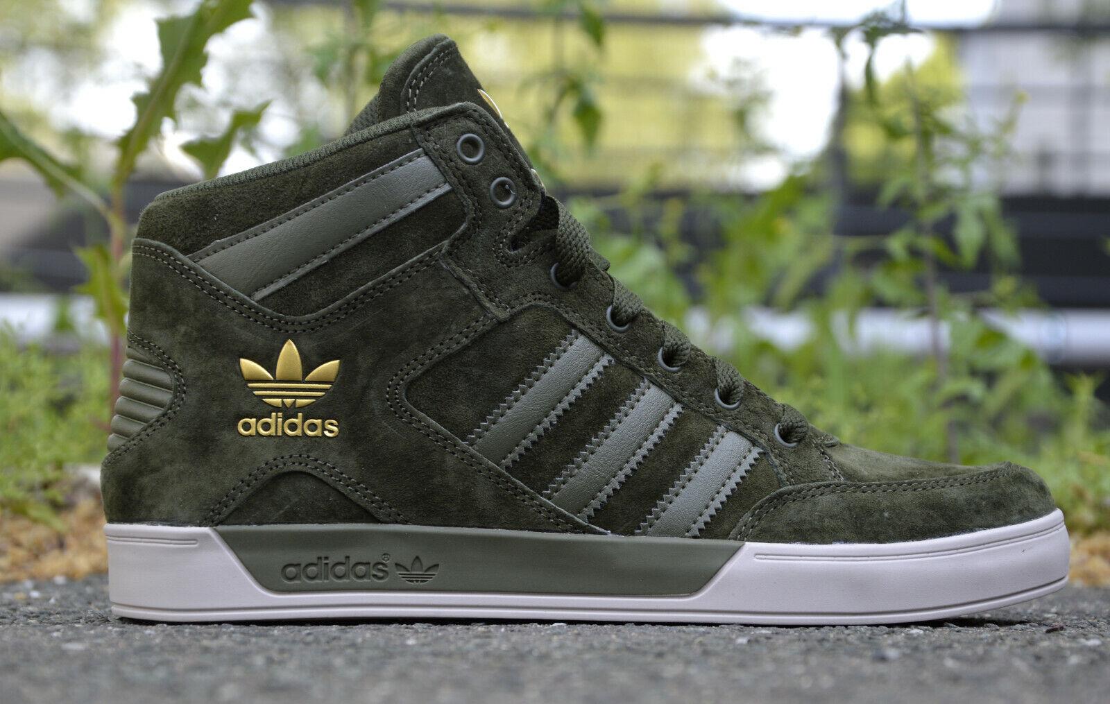 Adidas Hardcourt Herrenschuhe Turnschuhe High Sneaker Big Grün Gold Leder