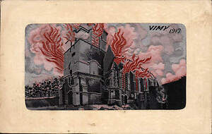 WW1 Flames Woven Silk. Vimy 1917. Card by E. Deffrene.