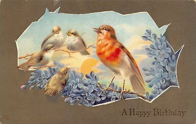 Red Breasted Bird Sings At Sunrise~Lilac Branch~Lil Birds~Cut Out~Germany~GEL