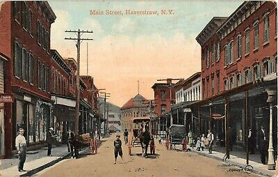 1908 Stores Main St. Haverstraw NY post card Rockland (Main St Stores)