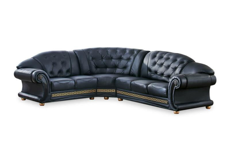 Traditional Black Genuine Top Grain Italian Leather Sectional Lhc Esf Apolo