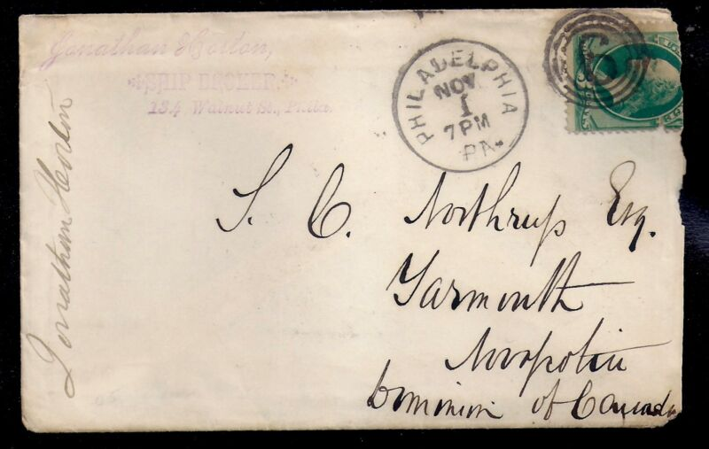 1880 Ship Broker Cover - Philadelphia to Yarmouth, Canada - 184 -3 Ring 6 Cancel