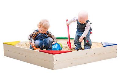 Wooden Sandbox (New PLAYBERG Wooden Sandbox with Floor Cover,)