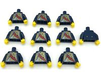 LEGO x10 Minifig Dark Blue Torso Pirate Bluecoat Governor Pattern Dark Blue Arms