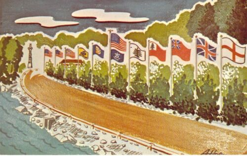 CT N Stonington Boy Scouts of America Lake of Isles Scout Res FLAGS postcard BS6