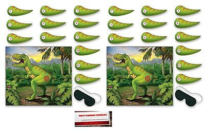 2 Pack Pin The Tail On The Dinosaur Game 18 x 21½ Inches - 2 Masks & 24 Tails...