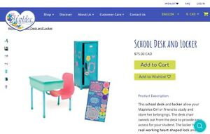 Maplea Doll School Desk and Locker