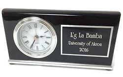 Desk Clock Personalized Wood Black Piano Finish Horizontal /Alarm-Engraved Free