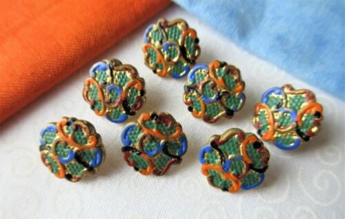 "6773-A – Set of 7 Lovely ½"" Emaux Peints Enamel Antique Buttons"