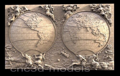 3D Model STL for CNC Router Engraver Carving Artcam Aspire World Map Pano (007)
